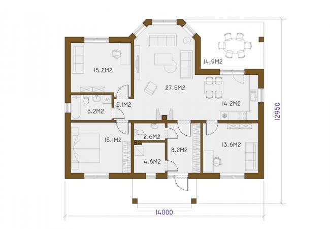 Māju projektu katalogs - Vienas ģimenes mājas - EVELĪNA