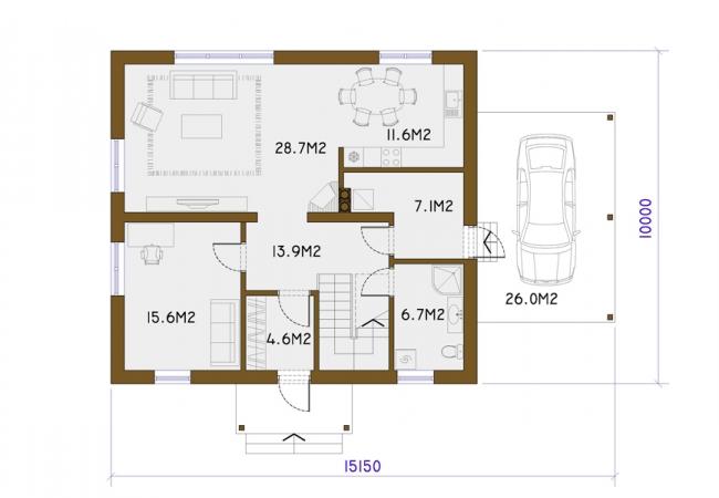 Māju projektu katalogs - Vienas ģimenes mājas - GULBENE 2