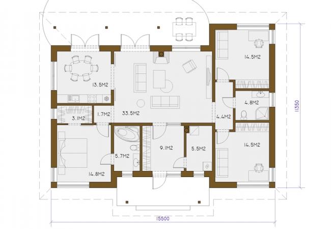 Māju projektu katalogs - Vienas ģimenes mājas - JOLANTA