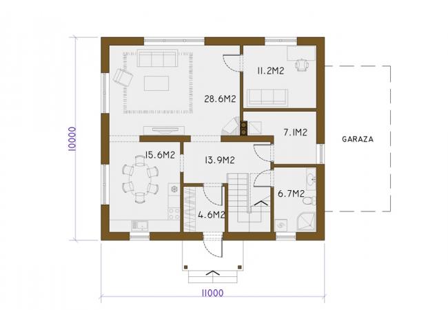Māju projektu katalogs - Vienas ģimenes mājas - GULBENE 1
