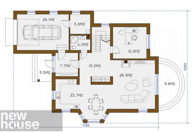 Каталог проектов домов - Дома для одной семьи - DAGDA