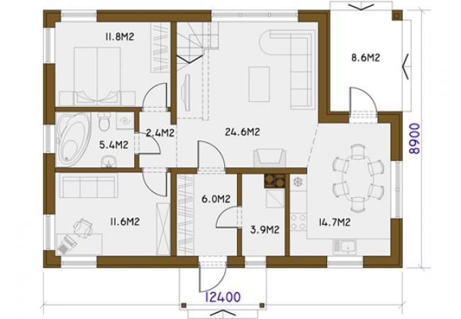 Māju projektu katalogs - Vienas ģimenes mājas - RASA PLUS
