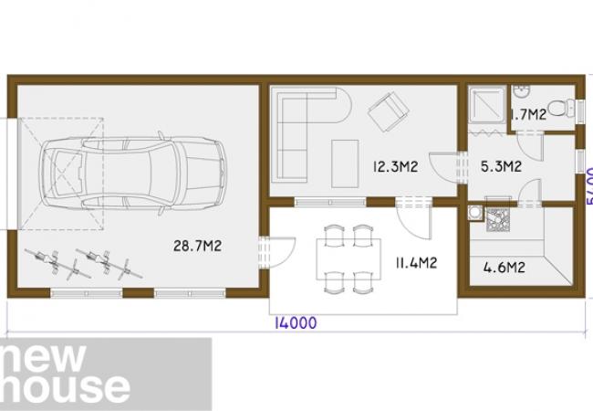 Māju projektu katalogs - Garāža ar pirti - GUNA 2