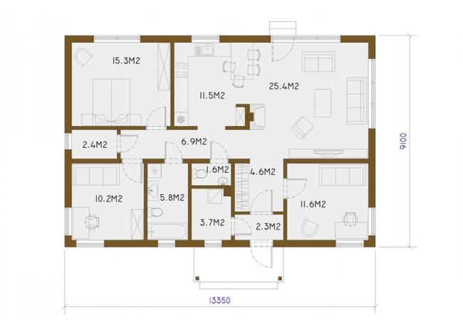 Māju projektu katalogs - Vienas ģimenes mājas - EKO2