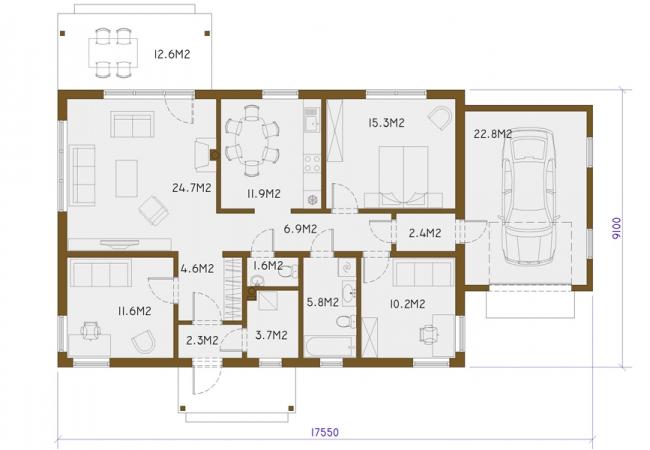 Māju projektu katalogs - Vienas ģimenes mājas - EKO3