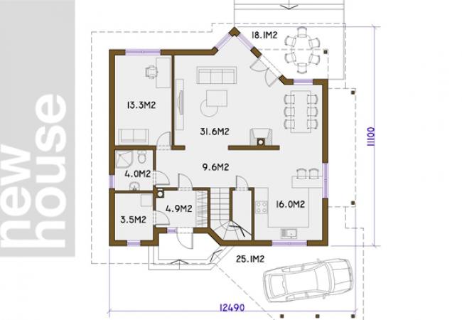 Māju projektu katalogs - Vienas ģimenes mājas - RAUNA