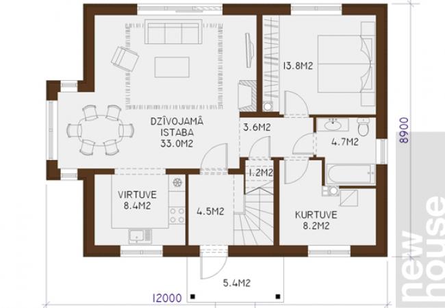 Māju projektu katalogs - Vienas ģimenes mājas - RAMONA