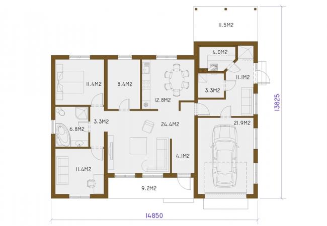 Māju projektu katalogs - Vienas ģimenes mājas - BAIBA